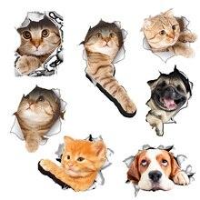 Gat View Levendige Katten 3D Muursticker Badkamer Wc Woonkamer Decoratie Dier Vinyl Decals Art Sticker Muur Poster Ghmy