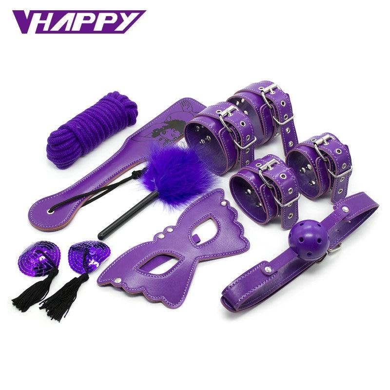 8 unids/set de juguetes eróticos para adultos sadomasoquismo sexo bondage Set esposas pezón abrazaderas látigo mordaza cuerda juguetes sexuales para parejas