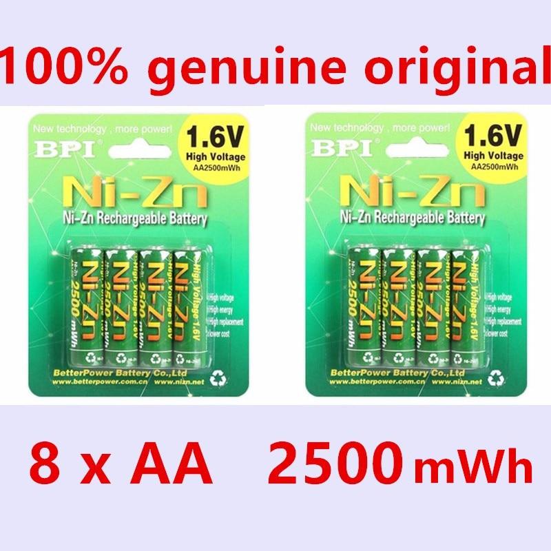 8pcs/lot Original BPI AA 2500mAh 1.6V 1.5V NI-Zn Battery Low self-discharge batteries high persistence rechargeable batteries