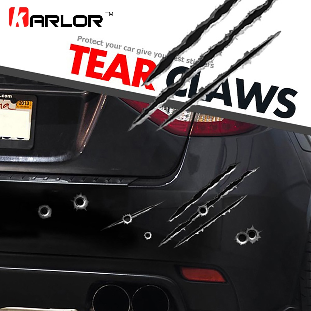 Falso rasgado garras realista bala pistola agujeros moda reflectante coche Auto motocicleta coche pegatinas DIY Car-Styling