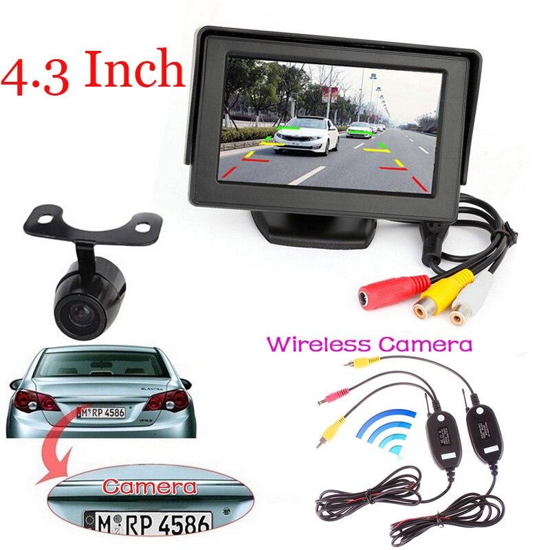 "Night vision 2.4 Wireless HD Reversing Backup Wide Angle CCD Rear View Camera + 4.3"" TFT LCD Car Reverse Rear View Monitor"