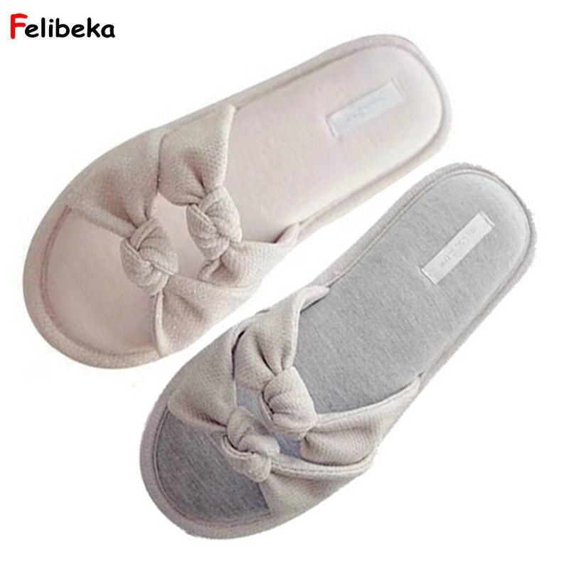 FELIBEKA Bowknot slippers house pantufa chinelo women shoes classic zapatos mujer Slippers ladies floor slides platform shoes