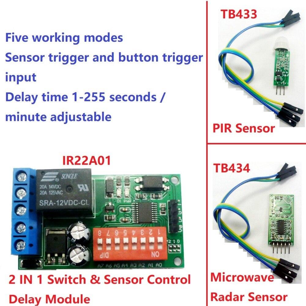 Módulo de temporizador PLC de ciclos de relé de autobloqueo DC 12V interruptor de tiempo de retardo para microonda PIR radar sensor táctil de vibración infrarroja