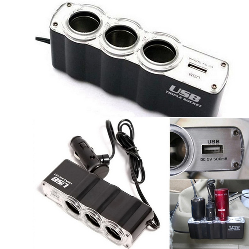 1PC cargador de coche USB cargador de fuente de alimentación y hembra extensor de encendedor de coche splitter 3 con 12V / 24V de salida negro
