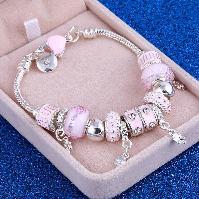 ZOSHI Rosa Kristall Charme Silber Farbe Armbänder & Armreifen für Frauen Mit Aliexpress Murano Perlen Silber Armband Femme Schmuck