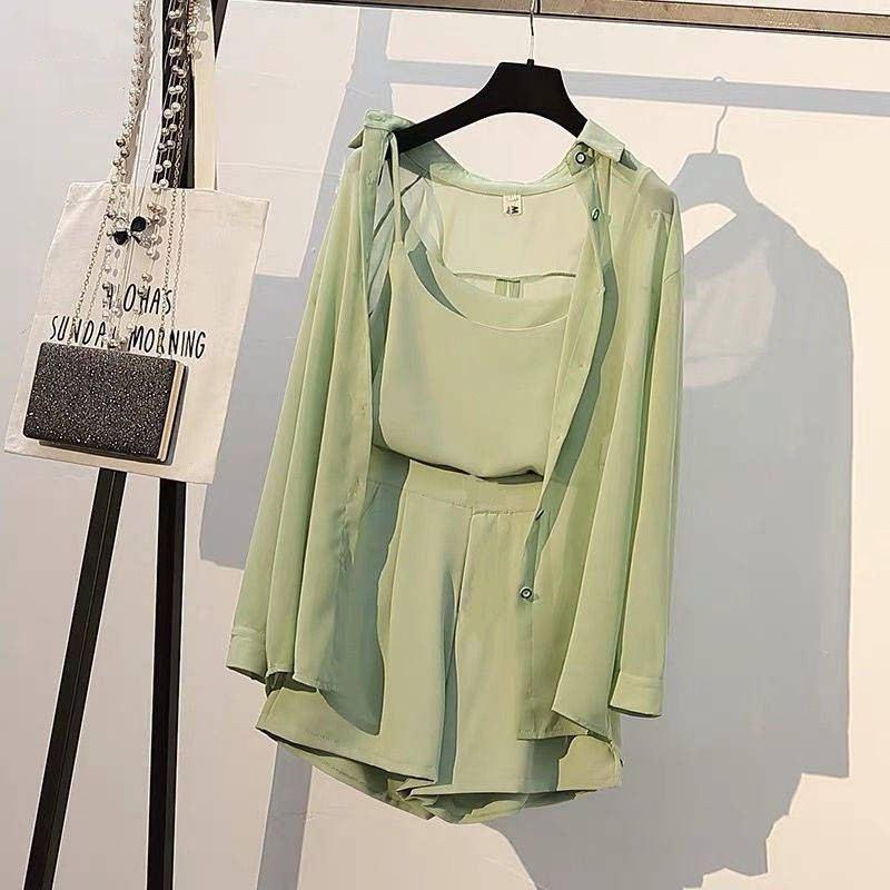 New Summer Fashion Women Two Piece Set Female Shirts + Shorts + Sleeveless Tops Ensemble Femme Office Lady Suit Tracksuit F133