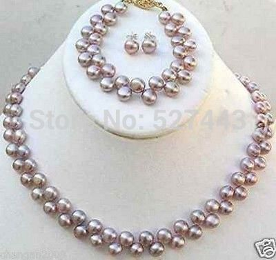 Juegos al por mayor Natural 7-8mm natural PÚRPURA collar de perlas cultivadas pendiente de la pulsera (A0423) de calidad Superior envío gratis