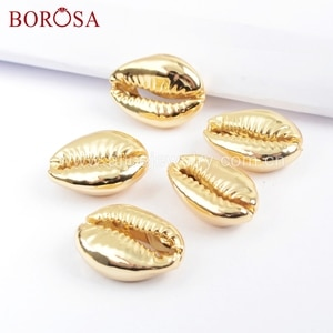 BOROSA 10PCS Full Gold Color Natural Cowrie Shell Bead Undrilled Sea Shell Pendant Beads Jewelry For Necklace Making G1691