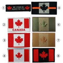 Patch brodé pour drapeau du Canada   Patch darmée à crochet et boucle, patchs 3D tactiques militaires en tissu, emblème National, drapeau feuille dérable canadienne