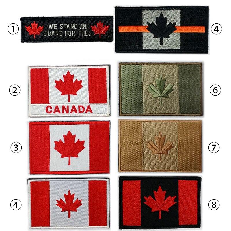 Parche bordado de bandera de Canadá, Parche de Velcro del ejército, parches militares de estilo táctico 3D, emblema nacional de tela, bandera canadiense de hoja de arce