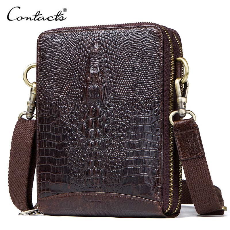 2018 new 100% genuine real crocodile leather head skin men shoulder cross body bag with top handle zippers closure brown black Top Quality Men Messenger Shoulder Bag Genuine Leather Vintage Men's Crocodile Crossbody Bag With Card Holder Mobile Phone Pouch