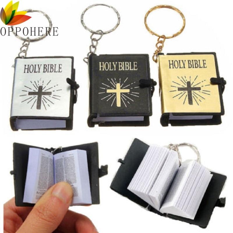 Mini llavero con Biblia inglés Santa Biblia Jesús Religión Cristiana oro colores negros al por mayor