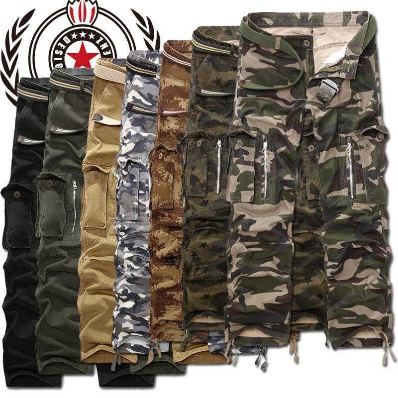 Military Cargo Pants Men Camouflage Tactical Casual Cotton Casual Trousers Men Pantalon Hombre ( Belt not include )