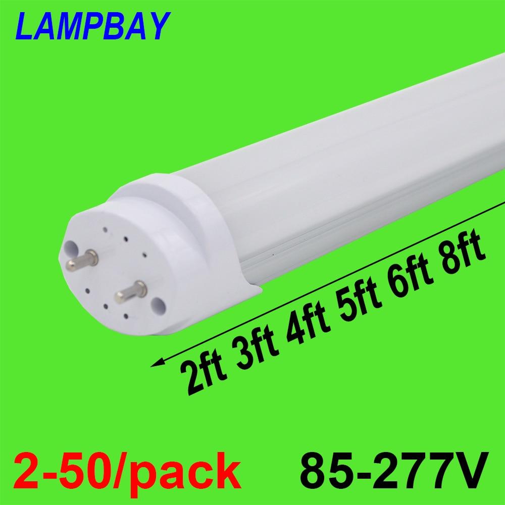 2-50/pack LED Tube Bulb 2ft 3ft 4ft 5ft 6ft Fluorescent Light 0.6m 0.9m 1.2m 1.5m 1.8m T8 G13 Bar Lamp 24