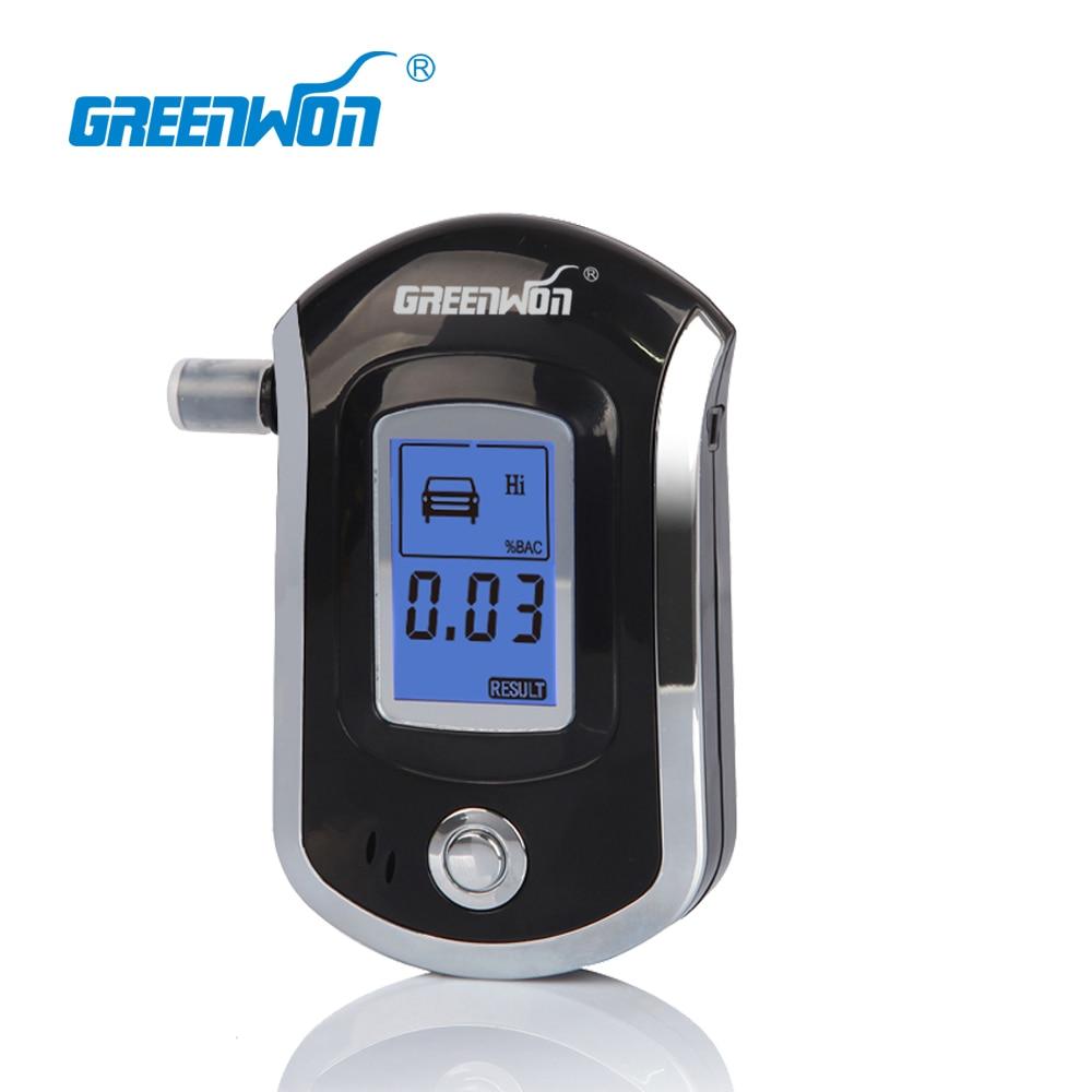 GREENWON LCD Digital Breath Alcohol Test Analyzer Breathalyzer Tester Alcoholicity Meter Detector Black