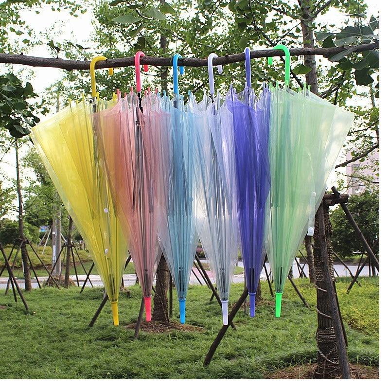 Lote Alça Longa Claro Guarda-chuva Adulto Crianças Dança Desempenho Lápis Colorido Transparente Wa0687 50 Pçs –