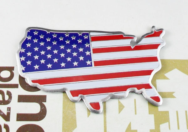 Carro de alumínio americano américa estados unidos bandeira emblema decalque emblema adesivo
