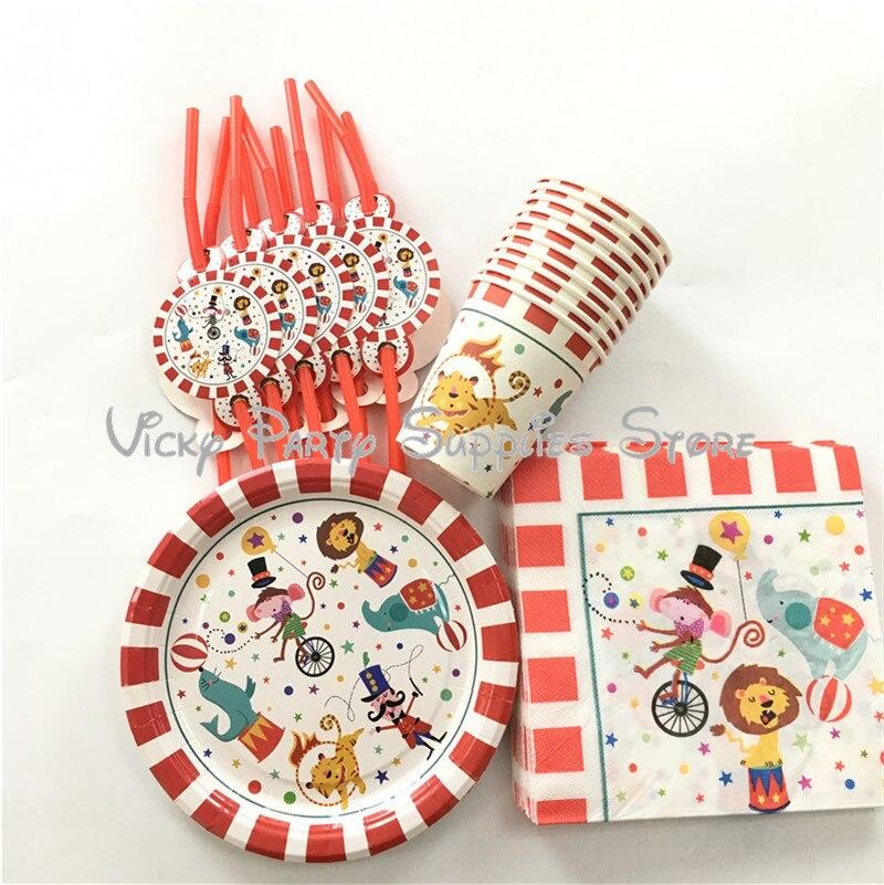 50 pçs/lote circo criativo tema descartável festa conjunto de utensílios de mesa aniversário bebê chuveiro copo placa decorações festa suprimentos