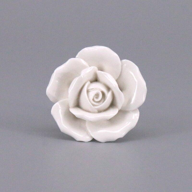 2 uds Flor de cerámica Rosa Blanca armario puerta cajón tirador de armario vestidor manija Puerta de mueble de cocina tiradores