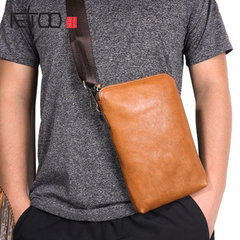AETOO Original vintage leather clutch bag Men first layer handbag Multifunctional shoulder soft