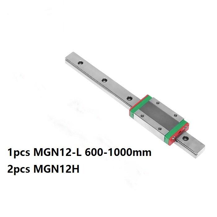 1pcs 100% Original HIWIN linear guide/rail MGN12 -L 600mm/700mm/800mm/900mm/1000mm+2pcs MGN12H Mini blocks for CNC parts MGNR12