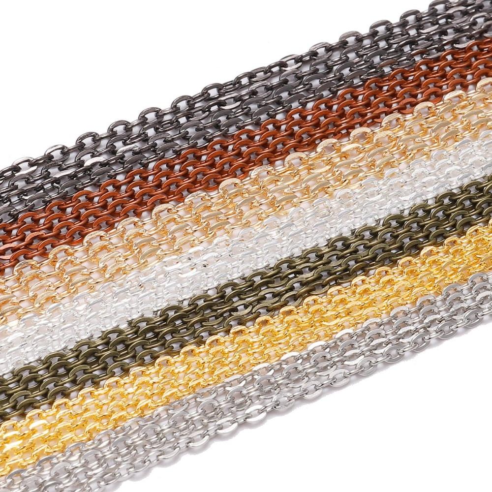 10 m/lote ouro gunmetal cor longa colar cadeias de bronze em massa banhado a corrente para diy jóias descobertas fazendo acessórios