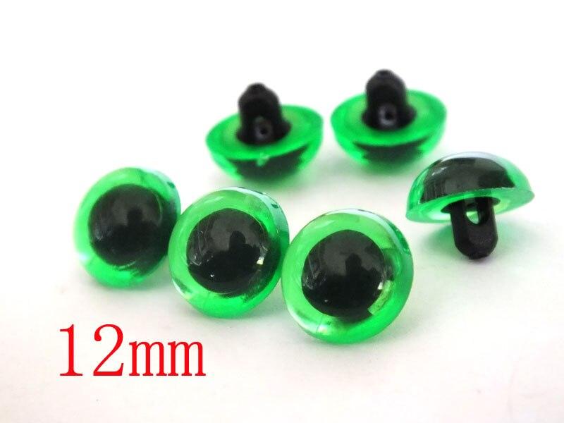 Оптовая продажа, 200 шт., пластиковые глаза для безопасного шитья животных, высокое качество, зеленый цвет, 12 мм