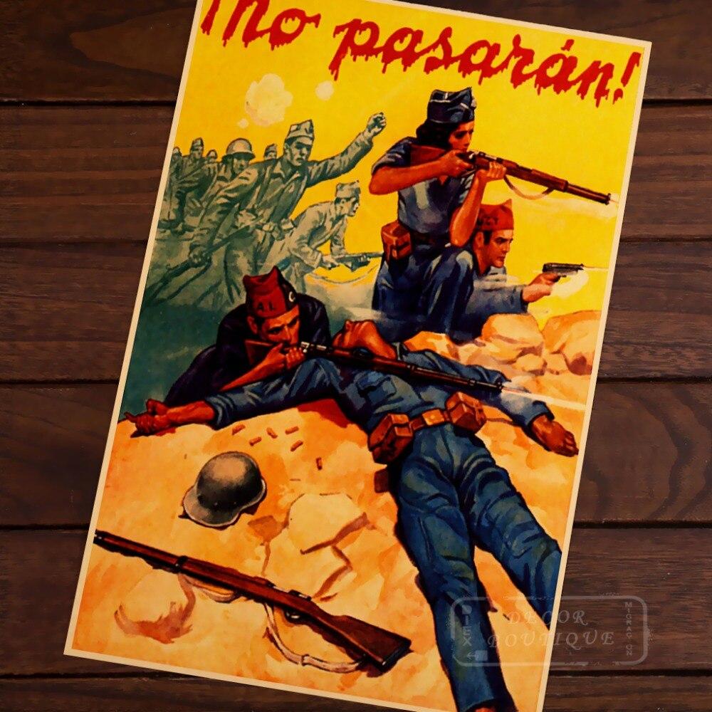 Abraham Brigad voluntario Robert Merriman guerra Civil Vintage decoración en papel Kraft cartel DIY pared lona etiqueta delicada Bar Dec