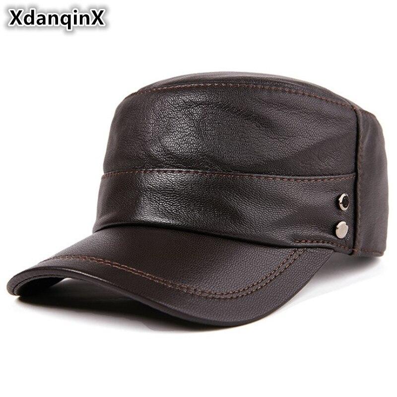 XdanqinX-قبعة مسطحة من جلد الغنم للرجال ، قبعة عسكرية أنيقة ، ذات علامة تجارية ، إغلاق خلفي