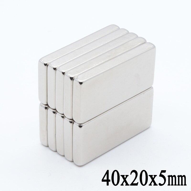 5 uds 40mm x 20mm x 5mm N35 imán de neodimio súper fuerte de tierras raras 40*20*5 pequeña conexión de arte 40x20x5