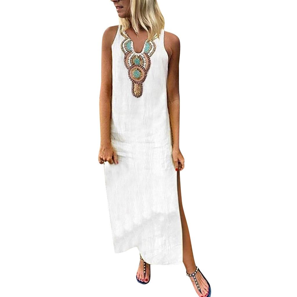 Summer Sleeveless Loose Linen Long Dress Plus Size 2XL Women Sexy Printed V-neck Maxi Dress Split Hem Baggy Kaftan Dress N4