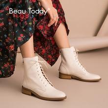 BeauToday bottines femmes veau en cuir véritable bout rond à lacets fermeture à glissière arrière hiver dame mode chaussures à la main 02202