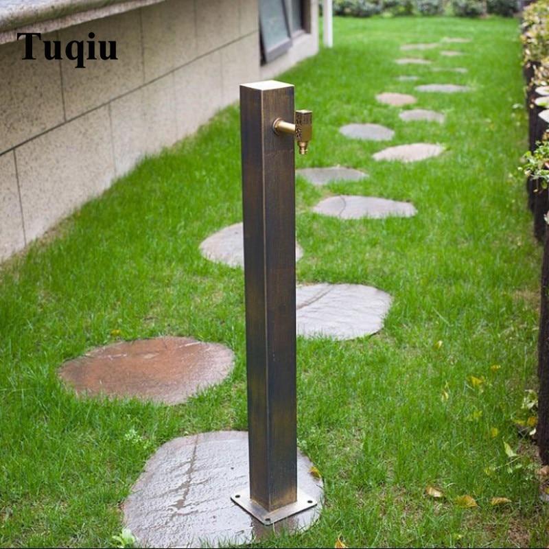 حنفية حديقة منتهية من البرونز العتيق من الفولاذ المقاوم للصدأ صنبور خارجي مربع للغسالة