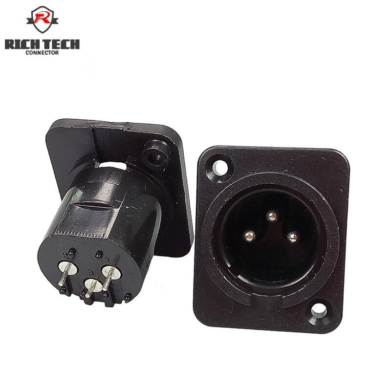 Conector XLR macho Painel Chassis Montados Em Forma Quadrada 3Pin MIC microfone áudio conectando