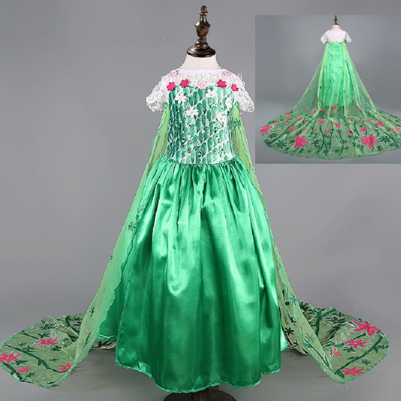 Vestido de Elsa verde para niñas, ropa infantil de reina de la...