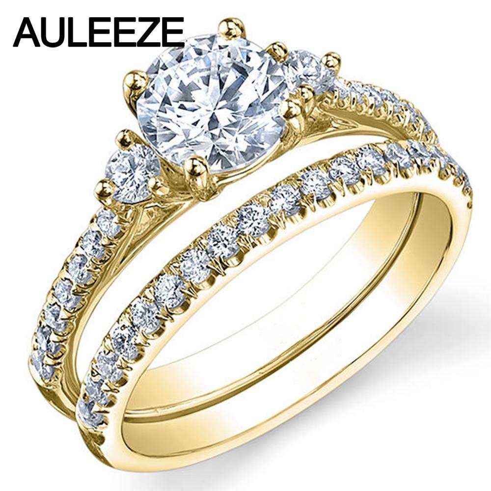 Anillo de diamantes cultivados en laboratorio de tres piedras, juego de novia de moissanita de 1CT, anillos de compromiso de boda de oro amarillo de 14K para mujer, anillo de fiesta