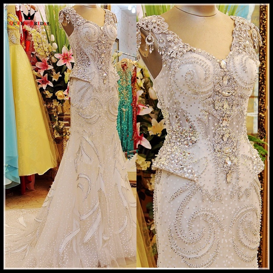 Real Photo Luxury Evening Dresses Bride Dress Mermaid V-neck Tulle Crystal Diamond  Prom Party Dress Evening Gown Custom EV01M