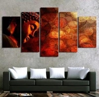 canvas painting living room wall poster 5 panel buddha unframeds in modular print cuadros decoration pictures drop shipping