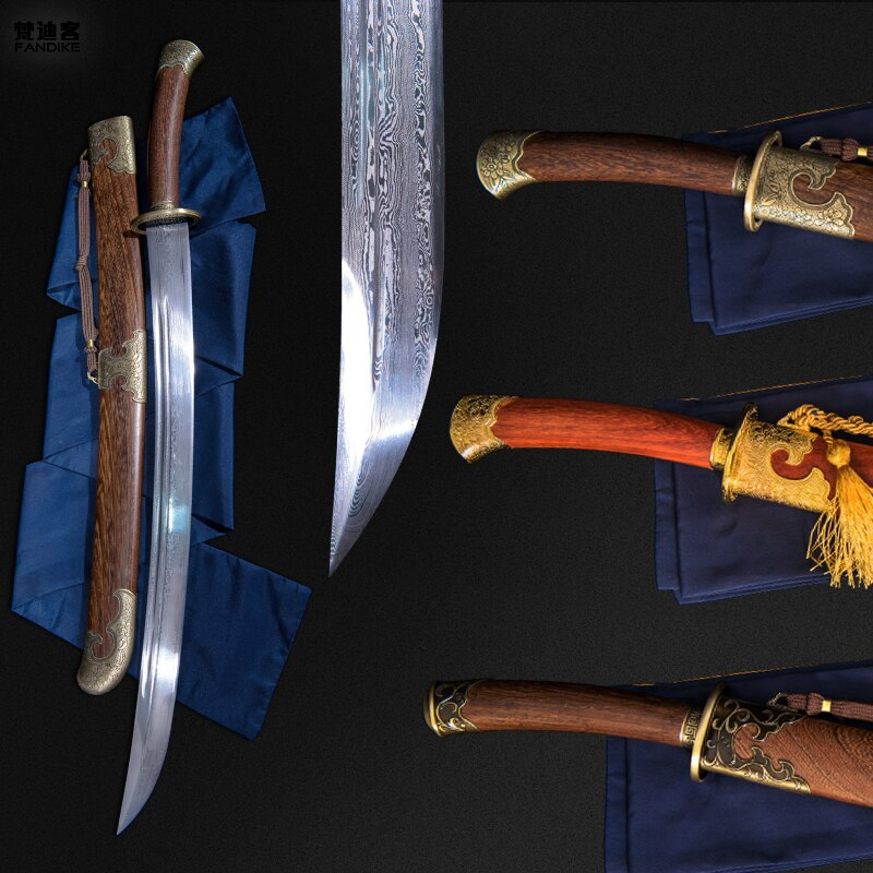 Damascus SHARP FOLDED STEEL SHARP ROSEWOOD FLOWER FUCHI CHINESE SWORD Handmade Chinese Sword Qing Dynasty BATTLE DAO
