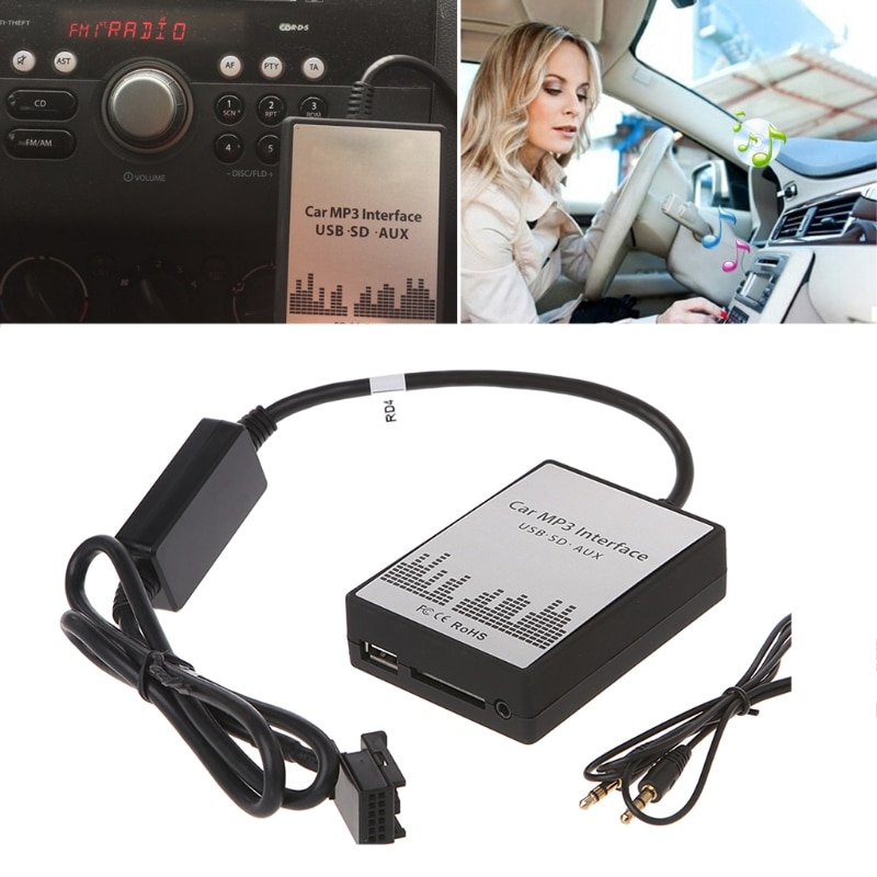 USB SD coche a AUX MP3 reproductor de música de cambiador de CD de Audio adaptador para Peugeot 307 407 Citroen C4 C5 RD4 12PIN interfaz