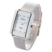Lvpai Brand Women Bracelet Watch Silver Square Luxury Crystal Alloy WristWatches Women Fashion Watch Quartz, P140