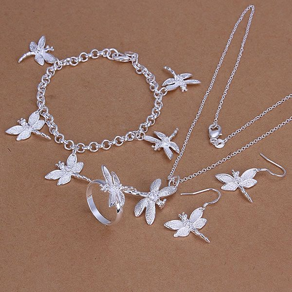 S302 encantadora de plata conjuntos de joyería de color plata exquisita joyería anillo libélula pendientes de pulsera de collar de joyería de moda