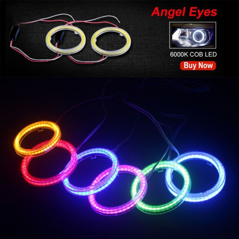 1 Uds de Ojos de Ángel anillos de halo faro LED COB/60/70/80/90/100/110/120 MM de la motocicleta del coche para E36 E39 E60 E92 E63 envío de la gota