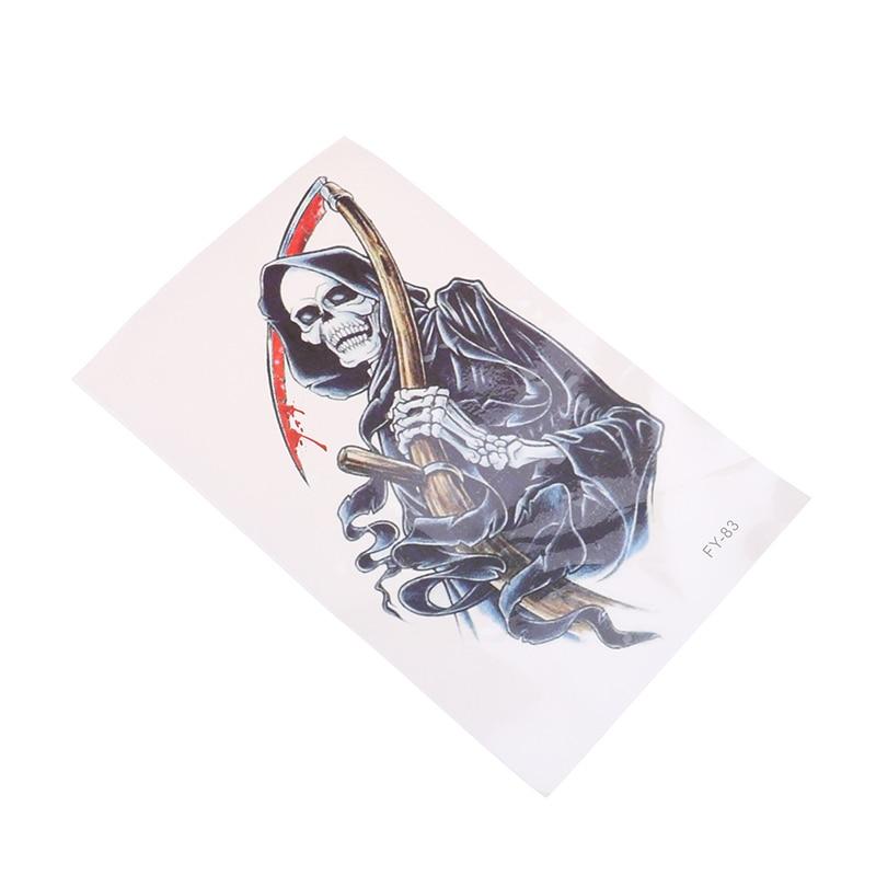 2 uds falso prediseñado sangre anemia temporal tatuajes adhesivos resistentes al agua arte de cuerpo de la mal la muerte de etiqueta engomada del tatuaje