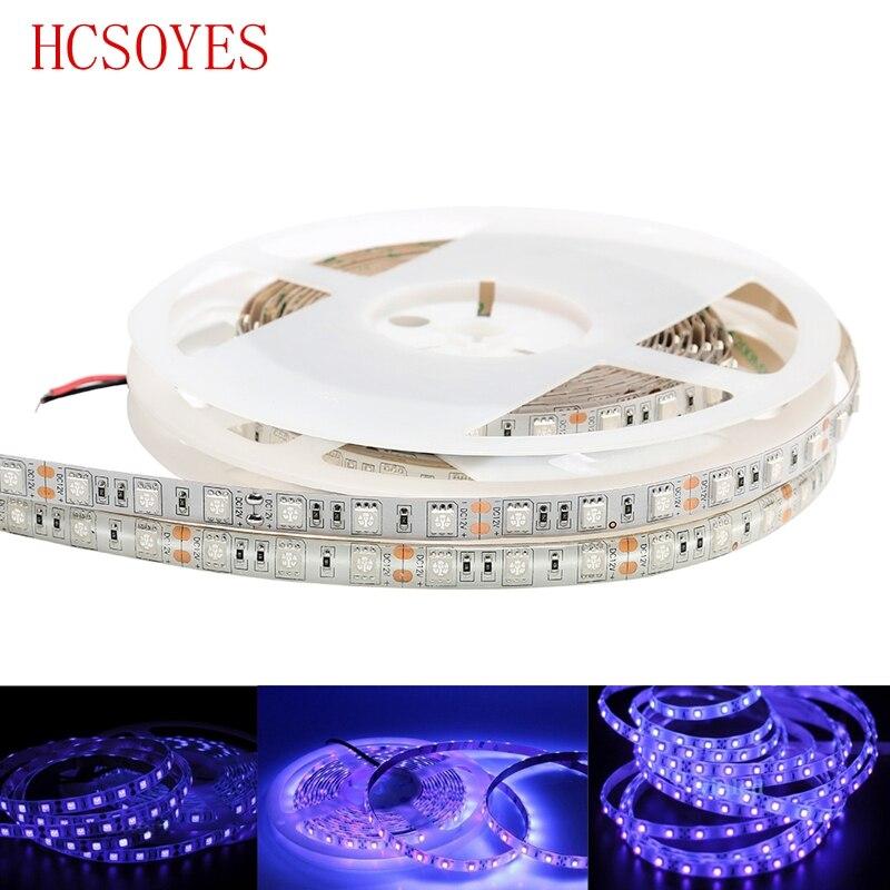 DC12V 5M SMD 5050 60leds/m tira de led ultravioleta, 395nm púrpura uv 300leds LED tira de luz blanca/Negro PCB IP30NP/ IP65 WP