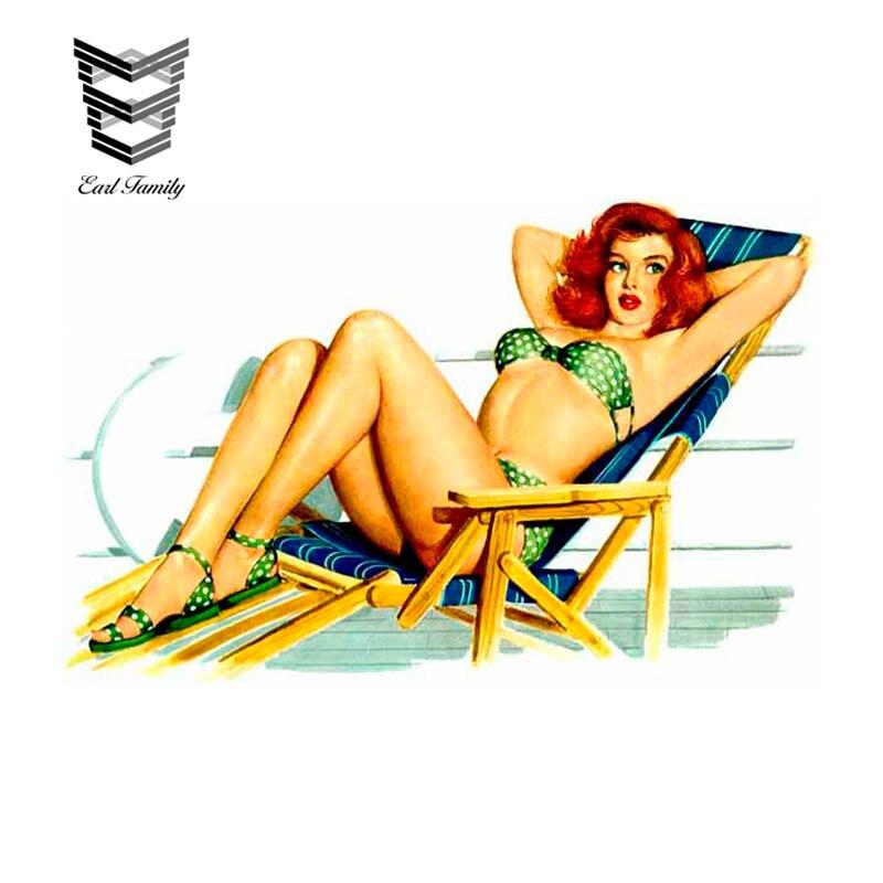 EARLFAMILY, 13cm X 8,4 cm, calcomanía de película Vintage de belleza para la playa, calcomanía de dibujos animados para coche, decoración de vinilo, ventana de coche, etiqueta de pared para portátil, accesorios