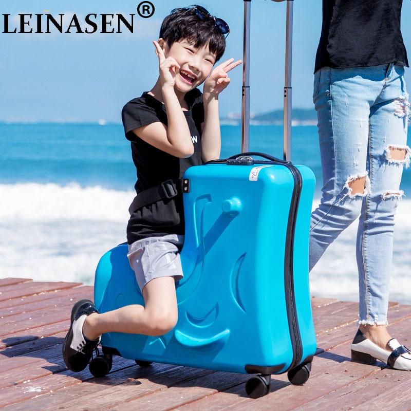 LEINASEN Cute pony Cartoon Children Rolling Luggage Spinner Suitcase Wheels Students Multifunction Trolley Kids Travel Bag
