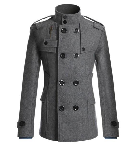 Casaco de manga comprida masculino casaco de lã casual masculino blusão masculino cinzento trench coat fino ajuste meninos outerwear mais tamanho 3xl