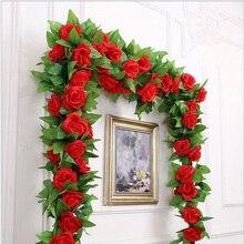 250 cm/lotto rose di seta edera vite con foglie verdi per la decorazione domestica di nozze foglia finta fai da te appeso ghirlanda fiori artificiali