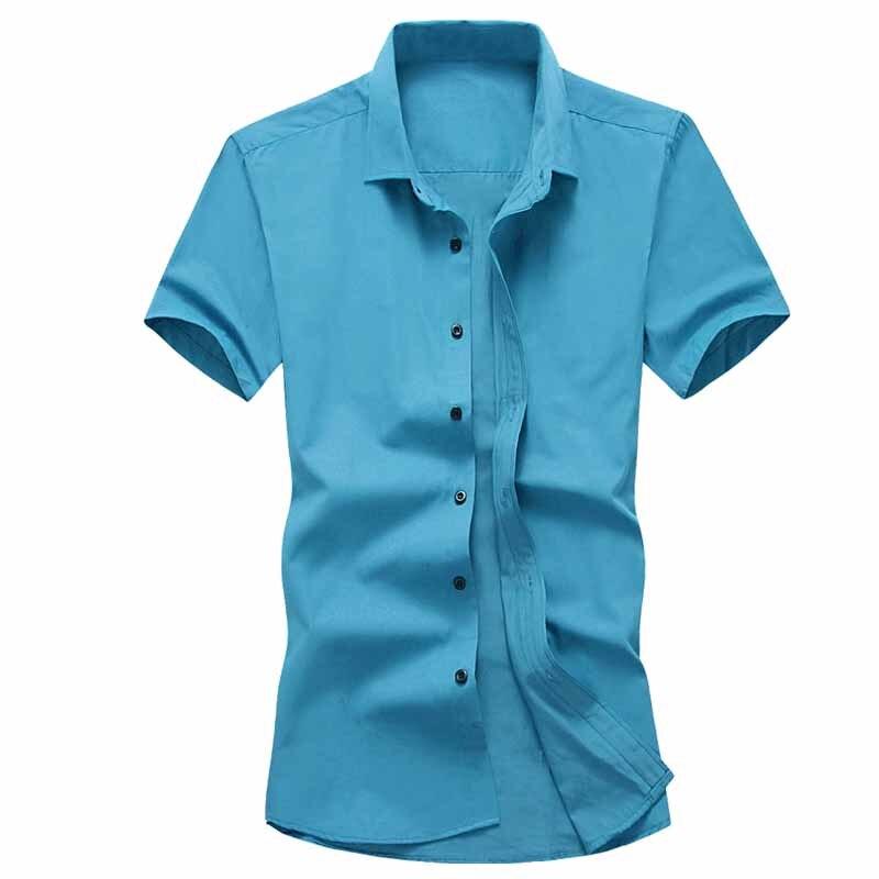 Escritório Cor Sólida manga curta Camisas Para Os Homens Vestido Além Disso respira Fresco Pure camisas de Algodão de Manga curta Slim Fit Ocasional negó